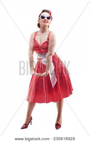 Smiling Pin up girl isolated on a white background