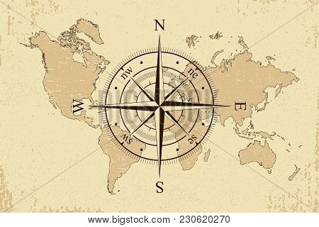 Vintage world map vector photo free trial bigstock vintage world map with retro compass background old paper map and wind rose vector gumiabroncs Gallery