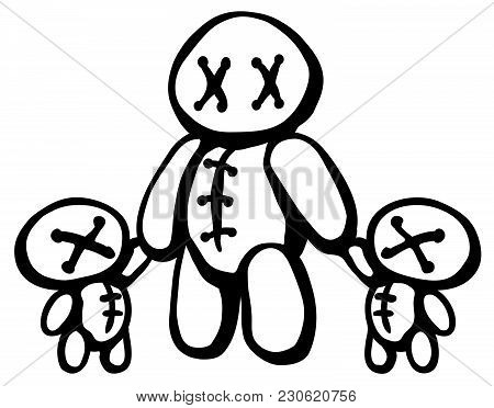 Voodoo Doll With Two Children Stencil Black, Vector Illustration, Horizontal, Isolated