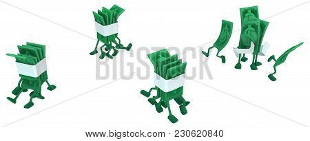 Dollar Money Symbol Cartoon Characters Running Crowd, 3d Illustration, Horizontal, Isolated, Over Wh