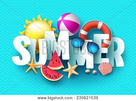 Summer 3d Text Vector Banner Design With White Title And Colorful Tropical Beach Elements In Blue Pa
