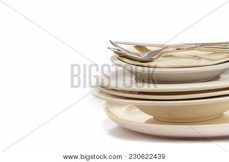 Close Up Dinning The Silverware Fork , Spoon And Knife With Dish On White Background And Text Space