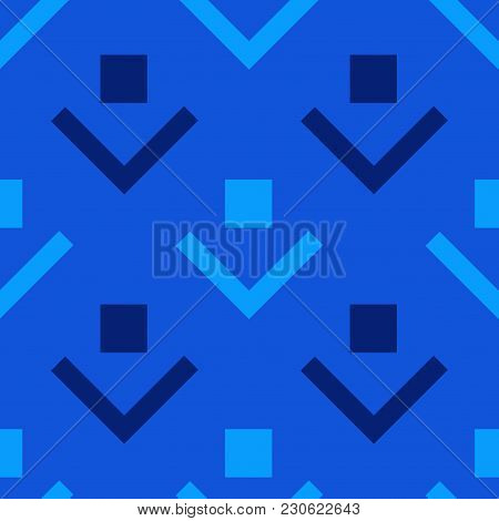 Box Downwards Seamless Pattern. Strict Line Geometric Pattern For Your Design.