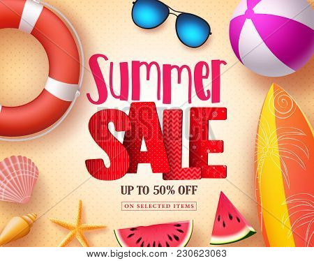 Summer Sale Vector Banner Design With Red 3d Sale Text And Colorful Beach Elements In Yellow Pattern