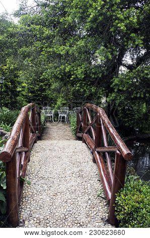 Stone Floor Wooden Handrail Bridge Garden Green Vegetation