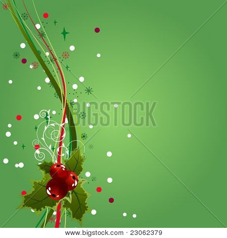 Green background with holly decoration