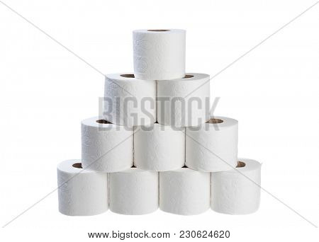 Stack of toilet papers isolated on white background.
