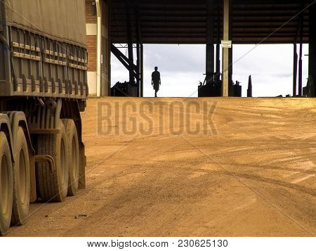 Campo Verde, Mt, Brazil, 01/03/2008. Truck Loaded With Soybeans Waits In Front Of The Grain Storage