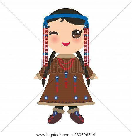Chukcha Yakut Eskimos Girl In National Costume. Cartoon Children In Traditional Alaska Dress. Isolat