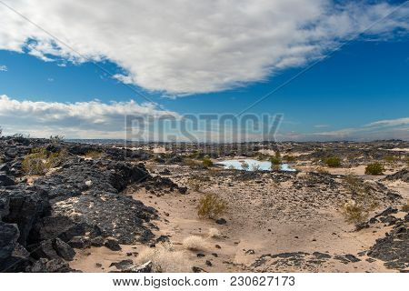 Beautiful Scene Of Ancient Lava Beds Along Route 66 Adjacent To Mojave National Preserve Along Inter