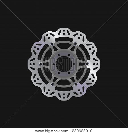 Mtb Bike, Bicycle Disc Brake Rotor. Realistic Vector Illustration. Bike Spare Parts Series.