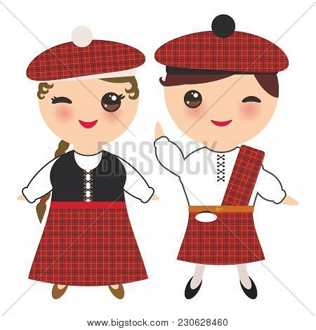 Scotsman Boy And Girl In National Costume And Hat. Cartoon Children In Traditional Scotland Dress, G