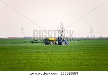Tractor Making Fertilizer By Spray. Work Agricultural Machines.