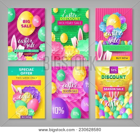 Big Set Easter Coupons. Festive Collection Of Banners For Discounts And Sales. Vector Illustration W