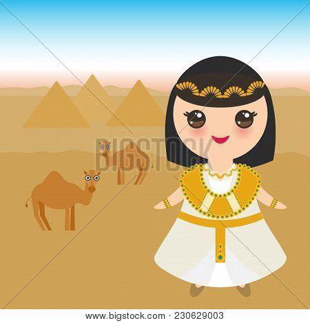 Ancient Egypt Girl In National Costume And Hat. Cartoon Children In Traditional Dress. Ancient Egypt
