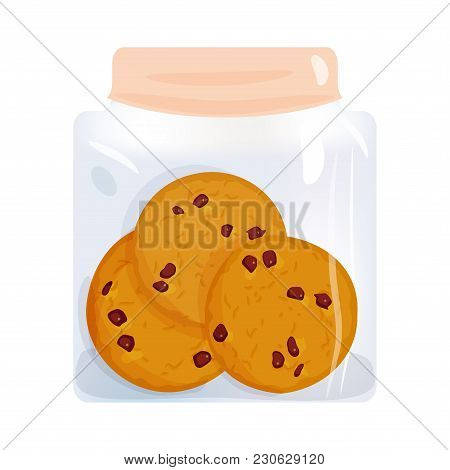 Chocolate Chip Cookie Set, Homemade Biscuit In Glass Jar, Isolated On White Background. Bright Color