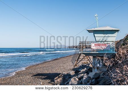 Lifeguard Tower On South Carlsbad State Beach In San Diego County.