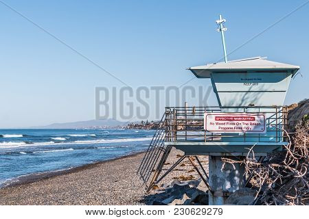 Close-up Of Lifeguard Tower On South Carlsbad State Beach In San Diego, California.