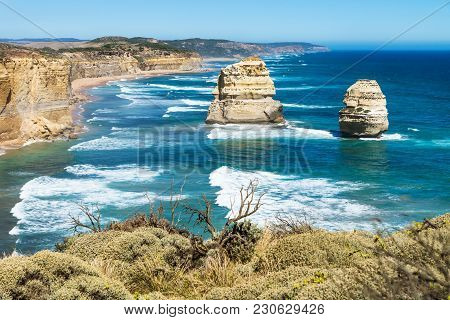 Two Of Twelve Apostels Overlooking Greenbush At The Great Ocean Road, Victoria, Australia