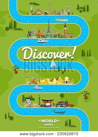 Discover The World Poster With Famous World Attractions Along Winding River  Illustration. Travel De