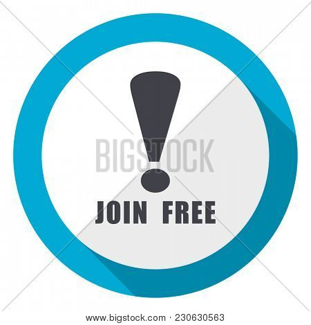 Join free blue flat design web icon