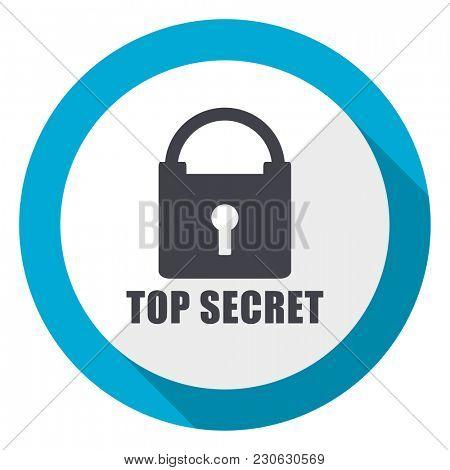 Top seret blue flat design web icon