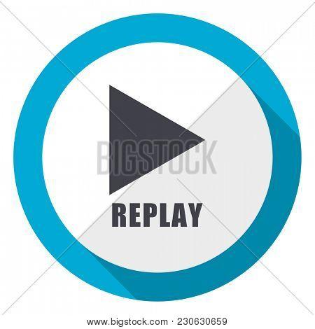 Replay blue flat design web icon