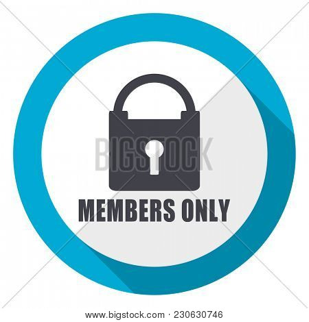 Members only blue flat design web icon