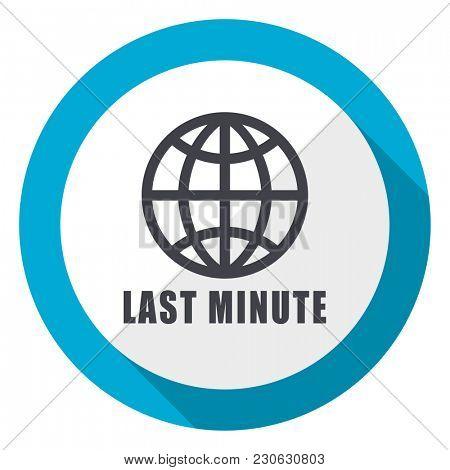 Last minute blue flat design web icon