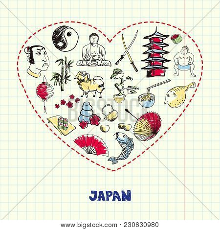Love Japan. Dotted Heart Filled With Colored Doodles Associated With Japanese Nation On Squared Pape