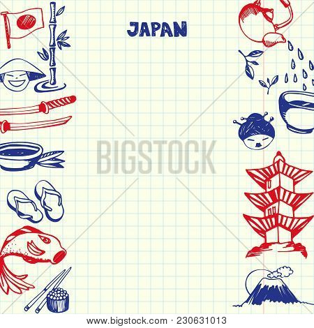 Japan National Symbols. Japaneses Cultural, Culinary, Nature, Historical, Architectural Hand Drawn D