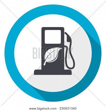 Biofuel blue flat design web icon