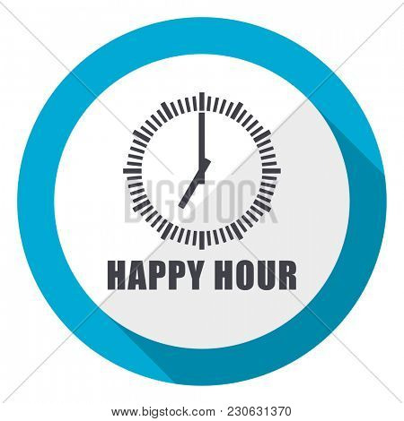 Happy hour blue flat design web icon