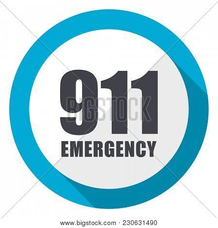 Number emergency 911 blue flat design web icon