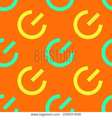 System Power On Seamless Pattern. Strict Line Geometric Pattern For Your Design.