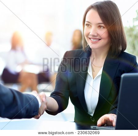 close-up of a handshake of a Manager and customer in the workpla