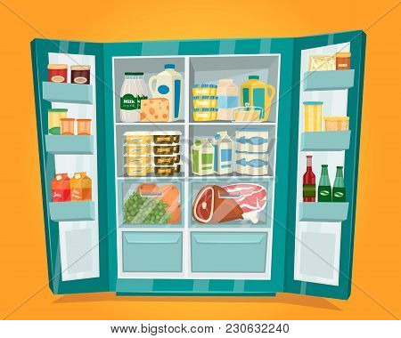 Refrigerator Full Of Food. Opened Fridge Filled With Fresh Fruits, Diary Products, Meat And Drinks