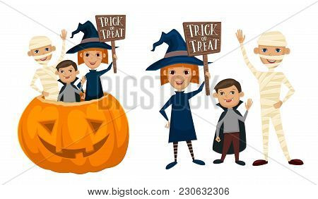 Kids In Halloween Costumes Mummies, Vampire And Witches Are Sitting In A Pumpkin With Sign Trick Or