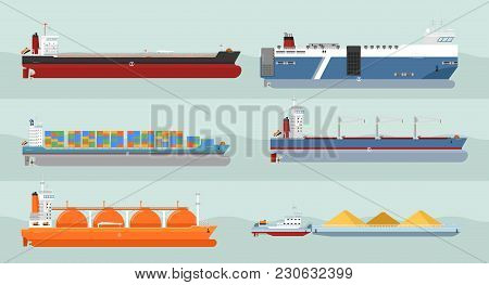 Set Of Cargo Ships S. Flat Design. Ferry, Container, Freighter, Bulk, Gas Carriers, Tugboat Ships Il