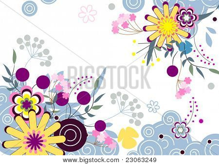 Abstract vector floral background. Raster version. Vector version is in my gallery.