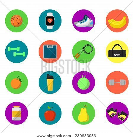 Sports And Nutrition  Illustration, Round Icons Set. Protein Shaker, Jump Rope, Sneakers, Weigher, B