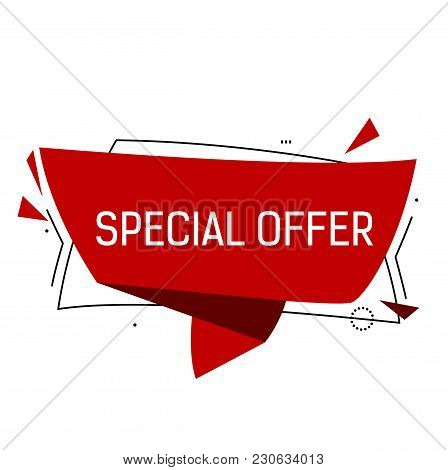 Special Offer Lettering In Red Origami Speech Bubble With Triangles. Inscription Can Be Used For Lea