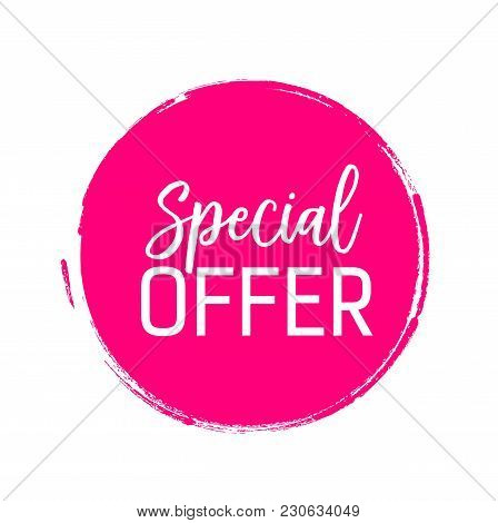 Special Offer Lettering In Pink Brushed Circle. Inscription Can Be Used For Leaflets, Posters, Banne