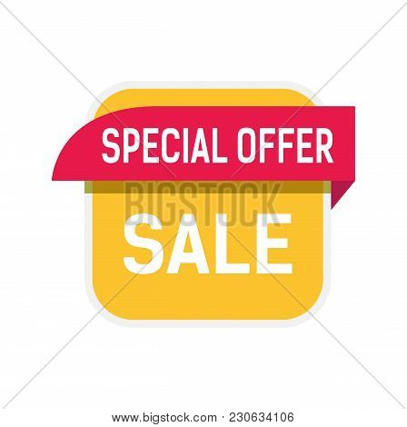 Special Offer, Sale Lettering In Yellow And Red Shapes. Inscription Can Be Used For Leaflets, Poster