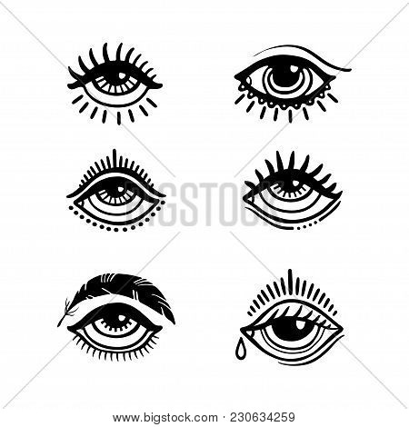 Set Of Hand Drawn Eyes. Doodle Style. Tattoo Design Element.the Third Eye Vector Illustration.