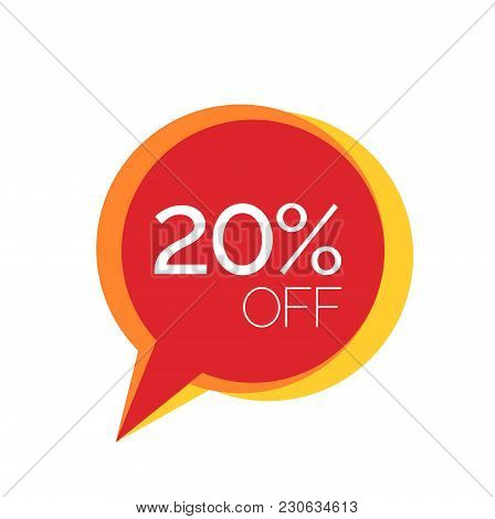 Twenty Percent Off Lettering In Red Speech Bubble. Inscription Can Be Used For Leaflets, Flyers, Pos