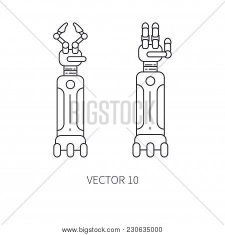 Bionic Robot Arm Prosthesis Line Icon Set. Bionic Prosthesis Limb. Biotechnology Futuristic Medicine