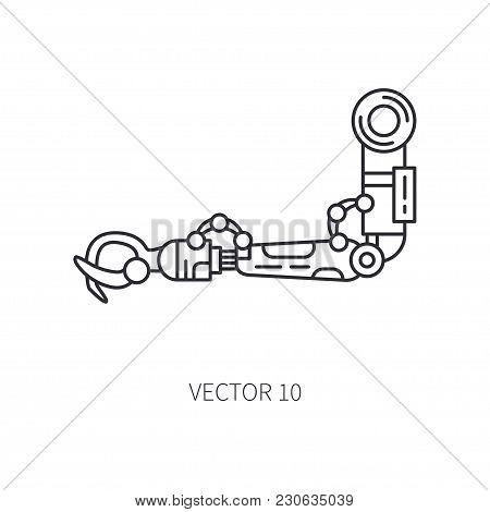 Bionic Robot Arm Prosthesis Line Icon. Bionic Prosthesis Limb. Biotechnology Futuristic Medicine. Fu