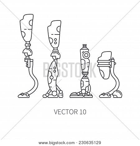 Bionic Robot Leg Prosthesis Line Icon Set. Bionic Prosthesis Limb. Biotechnology Futuristic Medicine