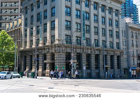 Melbourne, Australia - December 7, 2016: Intersection Of Collins And Spencer Streets With Pedestrian